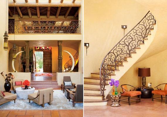A kaliforniai hőségből a nappaliba lépőket a magas belső tereknek és a vastag falaknak köszönhetően kellemes hűvös várja.