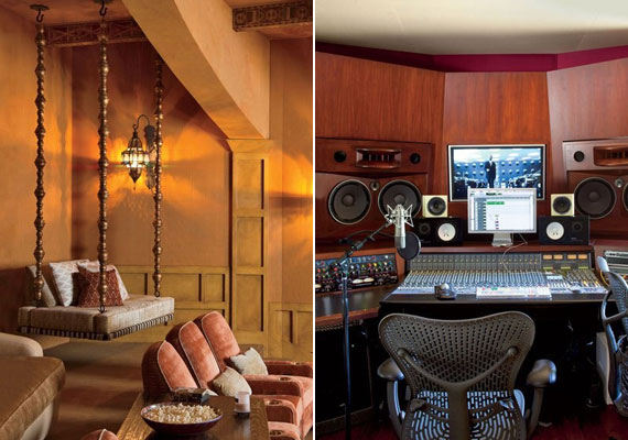A luxusvillában moziterem és stúdió is helyet kapott.