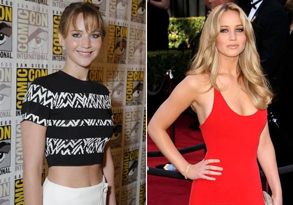 Hollywood legújabb üdvöskéje, Jennifer Lawrence is vékony kamaszlányként kezdte az álomgyári pályafutását. Mióta felszedett egy kicsit, sokkal nőiesebb.