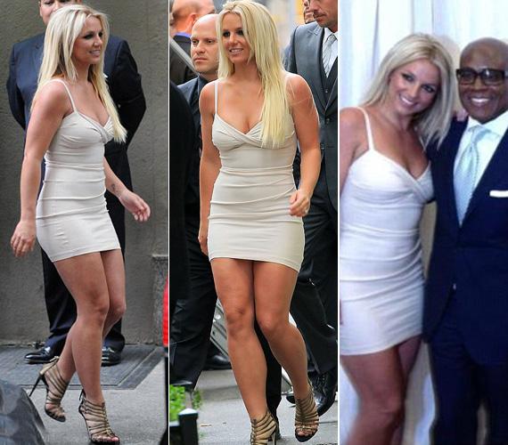 A bejelentésre ebben a még többet mutató, fehér ruhában érkezett, és a nem hivatalos fotózáson is ebben vett részt, majd úgy döntött, egy figyelemfelkeltőbb színre vált.