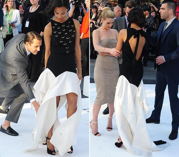 Az új Star Trek-film premierjén kínos helyzetbe került ruhája miatt.